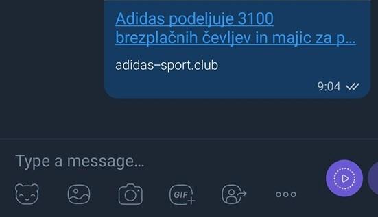 Tokrat poskus prevare z darili Adidasa